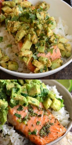 Avocado Salmon Rice Bowl Beautiful honey, lime, and cilantro flavors come together is this tasty salmon rice bowl. Slightly sweet cilantro lime rice topped with juicy salmon roasted in honey, lime, cilantro glaze and fresh cilantro avocado. Healthy Meal Prep, Healthy Nutrition, Nutrition Bars, Healthy Cooking, Healthy Tips, Healthy Foods, Healthy Dinner Recipes, Vegetarian Recipes, Dessert Recipes