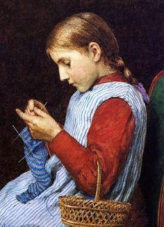 Fillette tricotant by Julian Alden Weir (1908)