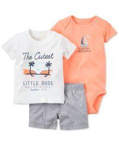 Carter's Baby Boys' 3-Pc. Cutest Little Dude T-Shirt, Bodysuit & Shorts Set - Kids & Baby - Macy's