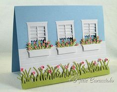 window card by Kittie Caracciolo... love the crimped blinds!