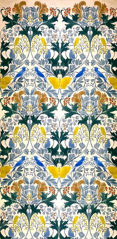 Wallpaper design with stylised flowers and wild animals decoration, by C.F.A Voysey. England, early 20th century