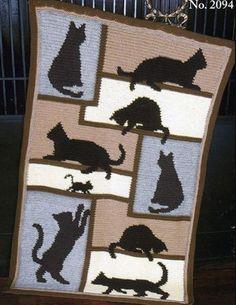 Crochet Cat Pattern Blanket