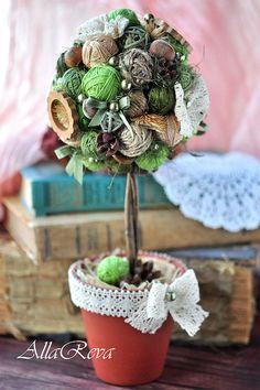 """Топиарий """"Фантазия"""" - зелёный,топиарий,Дерево счастья,подарок,цветы,дерево"""