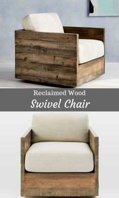 Loving This Swivel Chair Made From Reclaimed Wood So Rustic Looking It Would Be