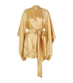 Carine Gilson short, gold silk kimono robe from Harrods. Silk Bathrobe, Kimono Dressing Gown, Silk Kimono Robe, Short Kimono, Gold Silk, Floral Kimono, Couture, Bath Robes, Grease