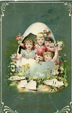 Vintage EASTER POSTCARD Easter Children in by sharonfostervintage, $3.00