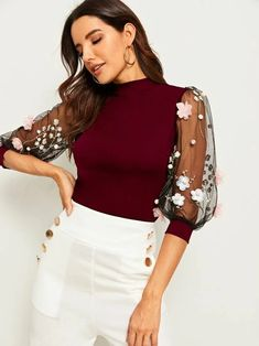 To find out about the Applique Embroidered Mesh Lantern Sleeve Top at SHEIN IN, part of our latestBlouses ready to shop online today! Look Fashion, Fashion News, Girl Fashion, Girls Fashion Clothes, Fashion Dresses, Clothes For Women, Western Dresses For Women, Trendy Tops, Transparent
