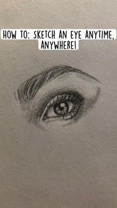 Art Drawings Sketches Simple, Pencil Art Drawings, Cool Drawings, Sketches Of Eyes, How To Sketch Eyes, Drawings Of Eyes, Easy Realistic Drawings, How To Draw Eyes, How To Draw People