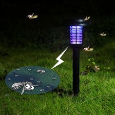 Solar Power Decorative Bug Zapper LED Mosquito Killer Lamp Black Get rid of annoying mosquitos