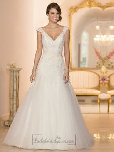 Cap Sleeves V-neck A-line Lace Beaded Deep V-back Wedding Dresses