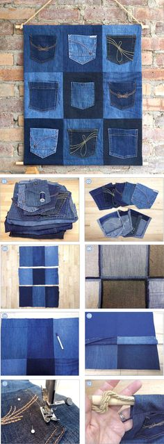 Tutorial for a Great Denim Pocket Organiser. How to make http://www.free-tutorial.net/2016/12/upcycled-denim-pocket-organiser.html