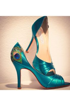 Peacock feather teal heels