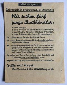 """Königsberg i. Pr. - """"Das Haus der Bücher"""" GRÄFE UND UNZER am Paradeplatz 6, """"Arbeitsschlacht Frühjahr 1934 in Ostpreußen"""": Stellenangebote"""