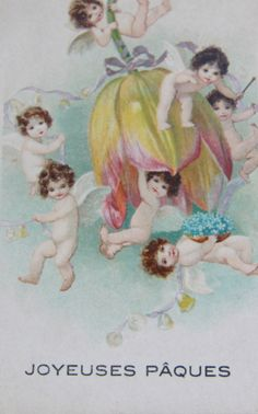 Original French Postcard with darling cherubs by kareneileen, $41.00 French Postcards, Little Cherubs, Paper Crowns, He Is Risen, Mythological Creatures, Vintage Pictures, Vintage Beauty, Happy Easter, Ephemera