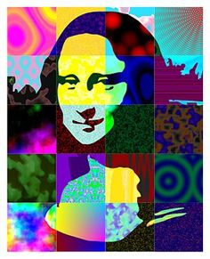 Pop Art Group Project and individual work. Lesson ideas for Pop Art. Group Art Projects, Collaborative Art Projects, Le Sourire De Mona Lisa, Lisa Gherardini, Cuadros Pop Art, Portraits Pop Art, La Madone, Mona Lisa Parody, Pop Art Movement