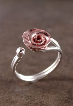 Rose ring, Copper, Sterling silver