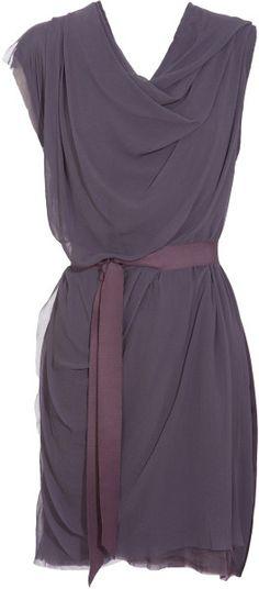 Love the color and style of this dress! Lanvin Purple Draped Silk Chiffon Dress with damson grosgrain ribbon belt - Lyst - smokey/muted purple Estilo Fashion, Look Fashion, Fashion Beauty, Womens Fashion, Fashion Details, The Dress, Silk Dress, Dress Skirt, Draped Dress