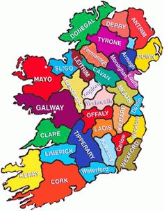 Ireland – County By County My maternal ancestors were originally from County Cork and my paternal ancestors from County Galway. County Cork Ireland, Ireland Map, Love Ireland, Castles In Ireland, Ireland Travel, Ireland Food, Ireland Hotels, Dublin Travel, Ireland Pictures