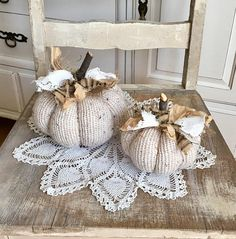 This set has 2 cream tweed sweater pumpkins. They're embellished with shabby tattered junk bows for a rustic farmhouse look. Diy Pumpkin, Pumpkin Crafts, Fall Crafts, Decor Crafts, Fall Decorations, Thanksgiving Decorations, Seasonal Decor, Holiday Decor, Sweater Pumpkins