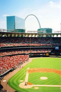 """St. Louis Cardinals~(old) Busch Stadium in St. Louis, MO. Game: 8/26/03 vs Cubs with Aindriu. Note: this game happened to be one of the three games featured in the book, """"Three Nights in August"""" by Buzz Bissinger."""