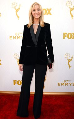 2015 Emmys: Red Carpet Arrivals Lisa Kudrow, Emmy Awards 2015. Not a very attractive suit. No! No! No!