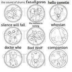 Doctor Who Inspired Gallifreyan Pendant Gunmetal Necklace. In Gallifreyan! Wolf Tattoos, Finger Tattoos, Bad Wolf Tattoo, Disney Tattoos, Nerdy Tattoos, Sweet Tattoos, Tattoo Heaven, Kirigami, Doctor Who Tattoos