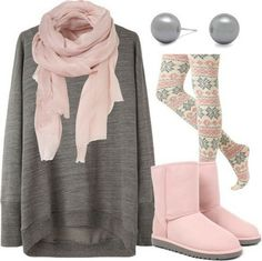 Cozy sweater with print leggings/matching scarf