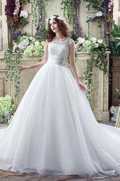 Elegant Illusion Lace Beadings 2016 Wedding Dress Cap Sleeve Zipper