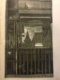 """Extrait du. Livre de M.J. MOYNET 1875 : L'Envers du Théâtre  Vue depuis le fond de la scène. Une construction cachée sur toute la hauteur des dessous est prête à apparaître en scène : il s'agit de la façade d'un palais qui surgit par une """" """"Fausse rue"""""""