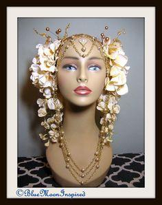 Headpiece, Headdress, Cream Flowers, Fairy headdress, Burlesque, Flower Headpiece, Flower Headdress
