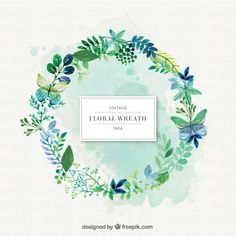 More than a million free vectors, PSD, photos and free icons. Exclusive freebies and all graphic resources that you need for your projects Wreath Watercolor, Watercolor Flowers, Watercolor Paintings, Watercolour, Illustrator, Corona Floral, Flower Frame, Vector Design, Floral Wreath