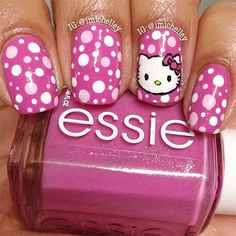 50 Animal Themed Nail Art Designs To Inspire You hello kitty nails designs Fancy Nails, Love Nails, Bling Nails, Ongles Hello Kitty, Nails For Kids, Cat Nails, Cute Nail Art, Cute Nail Designs, Creative Nails