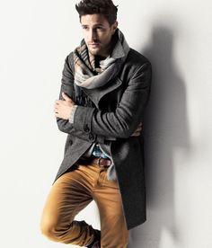plaid scarf, grey jacket, tan pants