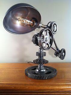 Industrial Desk Lamp - Machine Gear Task Light Steampunk Rat Rod - Vintage parts