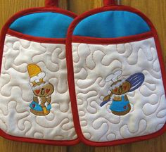 Holiday Oven Mitts Gingerbread Oven Mitts by AprilNineDesigns