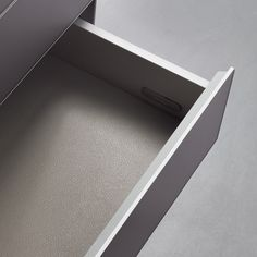 the push opening drawers can be equipped on request with totally extractible rails and are available with a texturized melamine internal finishing.