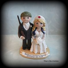 Nurse and Hunter Theme Wedding Cake Topper by Trina's Clay Creations