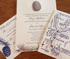 A complete invitation suite with a map that matches your wedding motif is sure to impress your guests, as well as get them to your event on time!