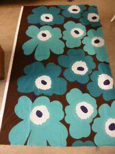 Marimekko Finland Maija Isola Unikko Unused Fabric - Turquoise / Brown - Retro