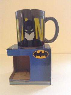 NIB DC Comics Warner Brothers Batman & Joker Face Ceramic Coffee Cup Mug #WarnerBrothers