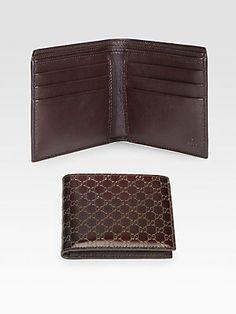 Gucci Metallic Micro GG Leather Bi-Fold Wallet