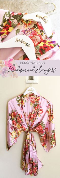 Wedding Hangers make the perfect gift for your bridesmaids and maid of honor  to hang their bridesmaid dress or wedding dress the morning of the wedding OR even a pretty floral robe they can use to get ready on your wedding day!  by Mod Party