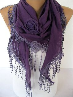Black scarf-Fashion scarf - gift Ideas For Her Women's Scarves-christmas gift- for her -Fashion accessories Purple Love, All Things Purple, Shades Of Purple, Purple Stuff, Purple Scarves, Black Scarves, Purple Fashion, Fashion Fashion, Fashion Women