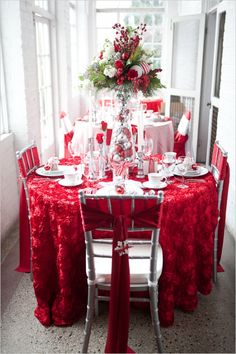 Christmas Ideas - Red Rose Linen, Silver Chiavari Chairs with White Chair Pads and Red Ties