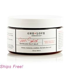 One Love Organics Skin Savior Waterless Beauty balm- moisturizer, cleanser, makeup remover. Absolutely amazing on the skin. Improves look and feel by hydrating and brightening. Extra dry areas feel smooth and silky. Also, smells beautiful!