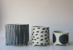 Bridget Bodenham Raku Planter - white with dots/stripes/dashes| Mr Kitly