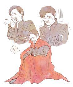 Stephen and the cloak. So cute.  ( ˘ ³˘)❤