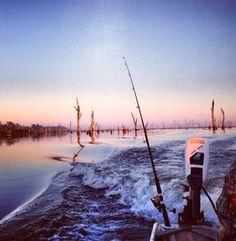#fishing #boat #lake #sunrise