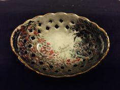 Antique Hand Painted and Signed Fine Porcelain Basket