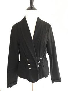 Cabi Blazers Size 8 Trim Motorcycle Military Jacket Fitted Long Sleeves Black #CAbi #militaryjacket #womenfashion